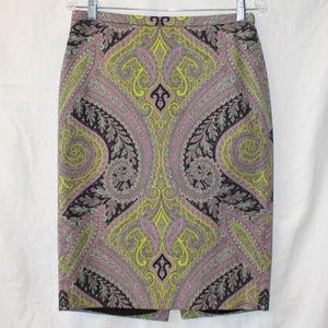 J. CREW Sovereign Paisley No. 2 Pencil Skirt ~ 6